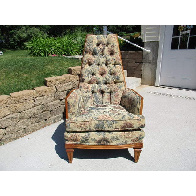 Tufted High Back Armchair With Beautiful Wood Detail - Image 7 of 11