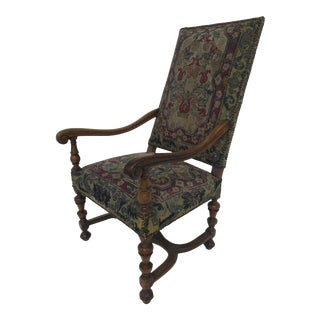 French Walnut Style Louis XIII Armchair Tapestry For Sale