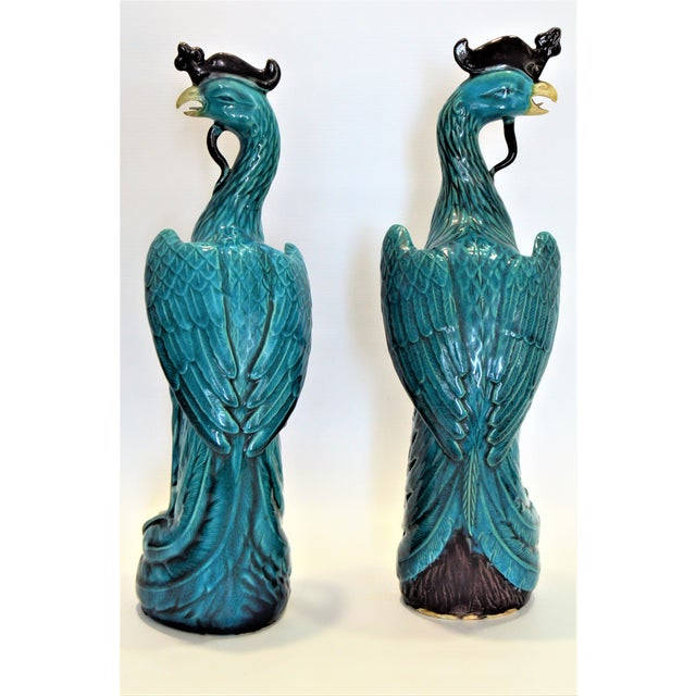 Extra Large Antique 1940s Chinese Porcelain Phoenix Bird Figurines - a Pair-Oriental Sculpture Asian Mid Century Modern Palm Beach Tropical Parrots For Sale - Image 11 of 13