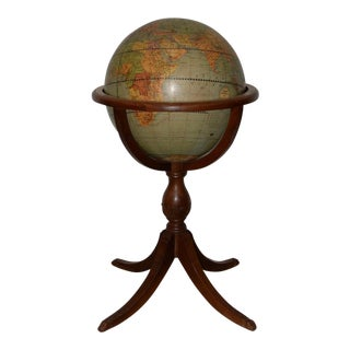 "1940s Weber Costello Co. Political Reality 16"" Globe on Mahogany Pedestal Stand For Sale"