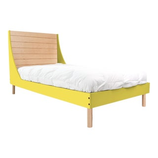 Nico & Yeye Minimo Full Panel Bedframe in Maple and Yellow For Sale