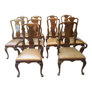 20th Century Henredon Queen Anne Style Dining Chairs - Set of 10 For Sale