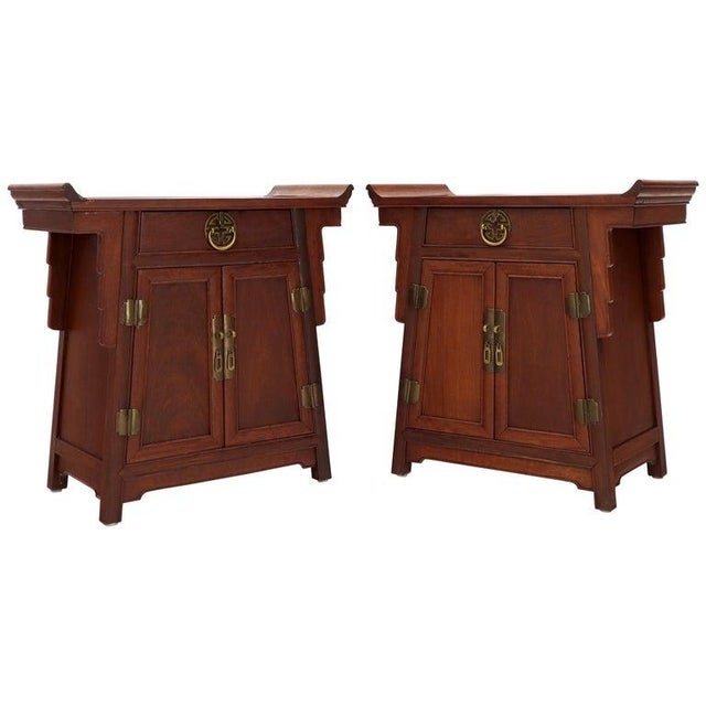 Pair of Asian Solid Teak Pyramid Shade Rolled Edges End Side Tables For Sale - Image 13 of 13