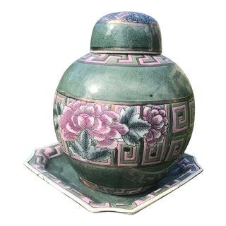 Ginger Jar Teal Flower Set - A Pair For Sale