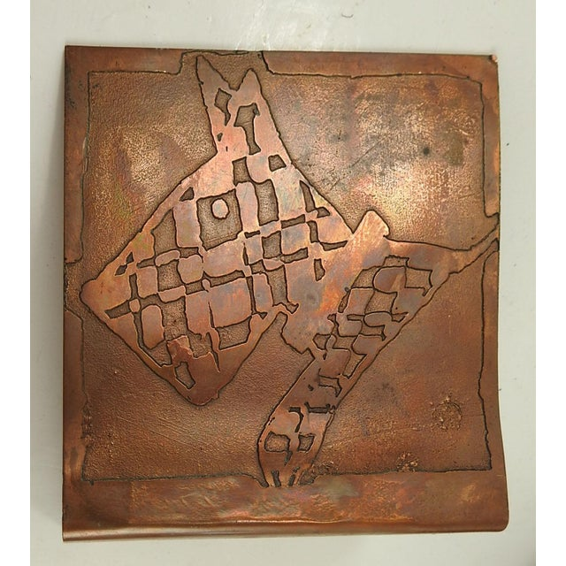 Abstract 1930s Abstract Hand Made Scotty Dog Etched Copper Bookends - a Pair For Sale - Image 3 of 5
