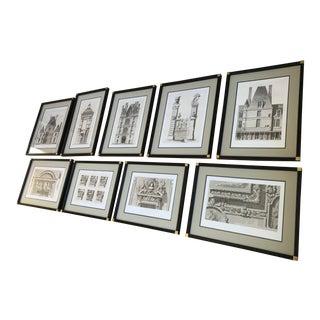 Antique Fontainebleau Architectural Framed Prints - Set of 9 For Sale