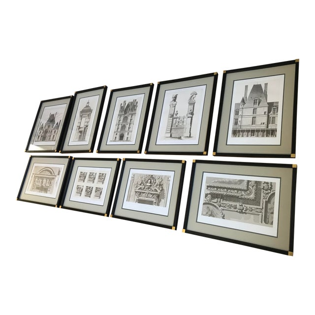Antique Fontainebleau Architectural Framed Prints - Set of 9 For Sale