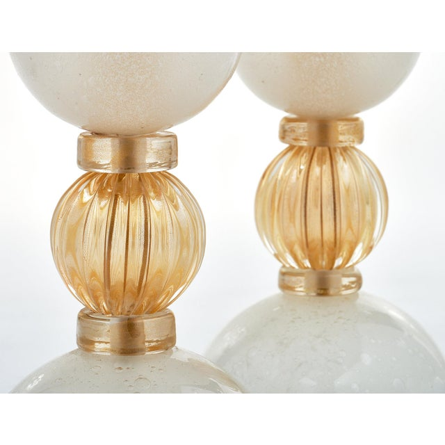 Murano Glass Opaline Urn Lamps For Sale - Image 9 of 11
