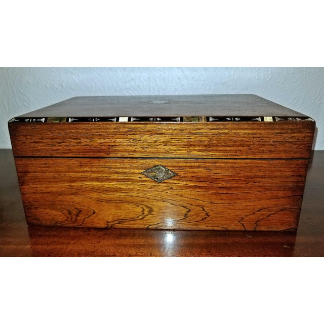 Early 19c Irish Mahogany Writing Slope With Armorial Crest For Sale - Image 12 of 13