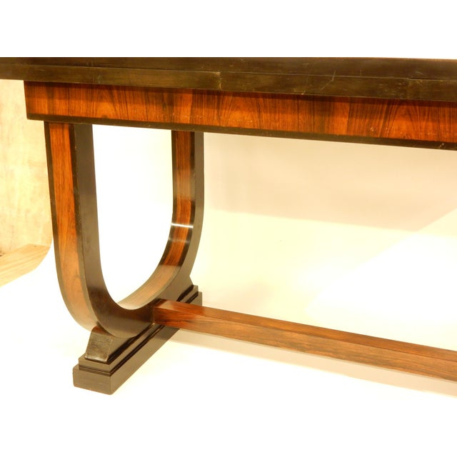 Wood Art Deco Leather Top Table With Extensions For Sale - Image 7 of 10