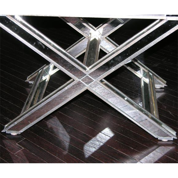 Pair of Custom Silver X-Band Benches with Red Leather For Sale - Image 4 of 6