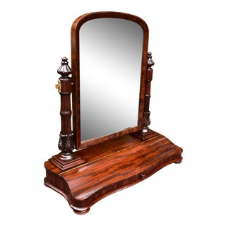 19th Century Antique French Empire Mahogany Table Mirror For Sale