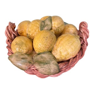 Mid 20th Century Hand Sculpted Majolica Basket of Lemons, Portugal For Sale