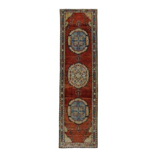 Vintage Turkish Oushak Runner with Modern Traditional Style For Sale