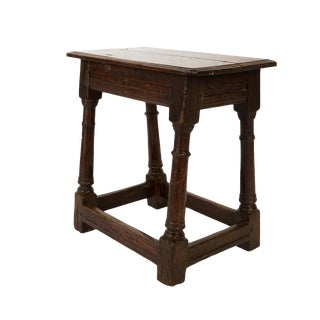 English Oak Joint Stool With Box Stretcher, Circa 1840 For Sale