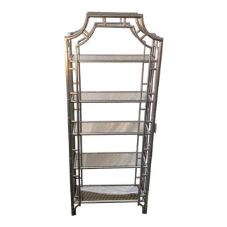 Vintage Faux Bamboo Silver Bookcase For Sale