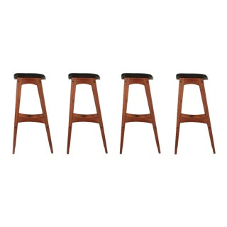 Johannes Andersen Danish Mid Century Teak Bar Stools - Set of 4 For Sale