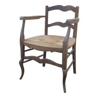 French Country Rush Seat Chair For Sale