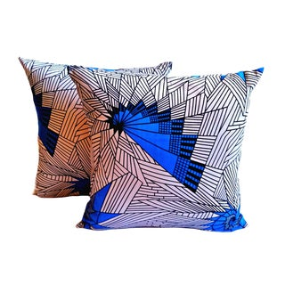 Blue & White Afro Modern Pillow Covers - a Pair