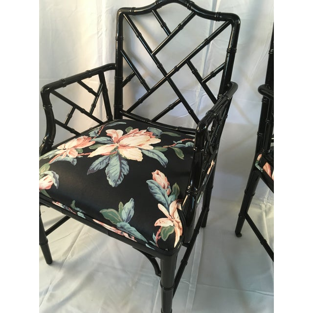 1980s Chinese Chippendale Black Lacquer Arm Chairs - a Pair For Sale - Image 10 of 11