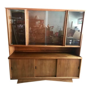 Mid-Century Teak Wood China Cabinet