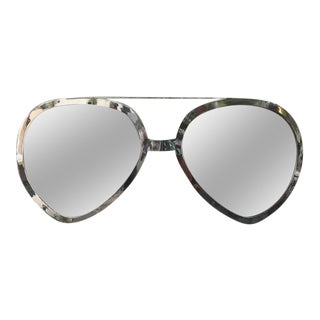 Huge Pair of Aviator Glasses Wall Mirror in Chromed Frame For Sale