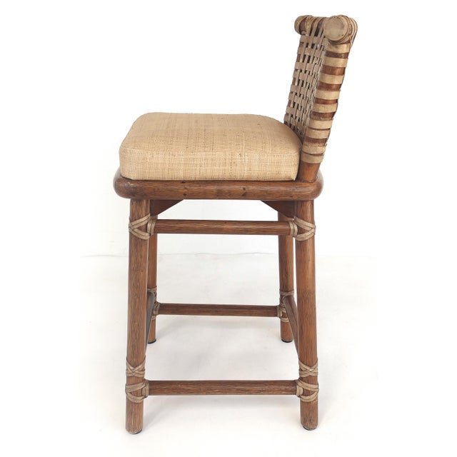 McGuire McGuire San Francisco Leather Bound Counter Stools W/ Raffia Seats - A Pair For Sale - Image 4 of 13