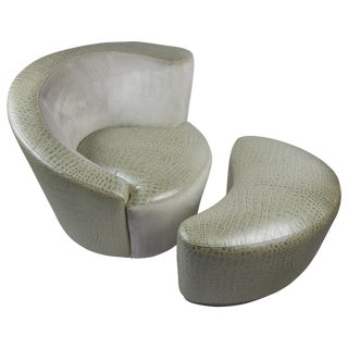 Vladimir Kagan Chair and Ottoman for Fendi For Sale