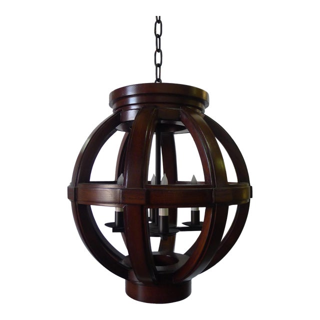 Carved Wood Sphere Chandelier Pendant by Paul Marra For Sale