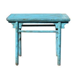 Chinese Rustic Distressed Wood Blue Side Table For Sale