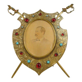 Antique Brass Sword and Shield Picture Frame, circa 1860 For Sale
