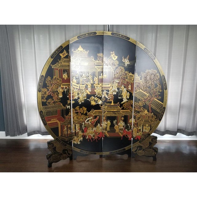 Large Round Asian Screen, Handpainted Black Lacquer 4 Panel Chinese Screen Room Divider Rounded Hand Painted Branches off...