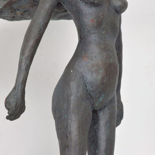 Nude Female Gladiator Warrior in Flowing Cape Hair Bronze Sculpture For Sale - Image 9 of 11