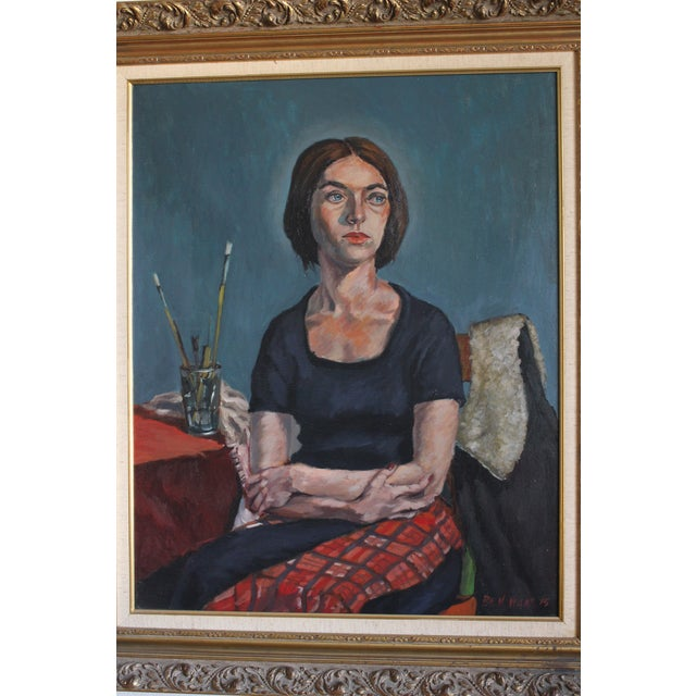 This impressive portrait of an unidentified woman by artist Ben Wilks (1914-2001) is a work from 1975. The oil on canvas...