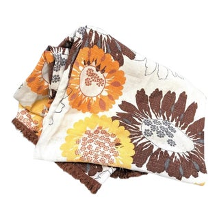 1960s Barkcloth Floral Fringed Tablecloth For Sale