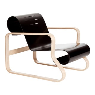 "Armchair 41 ""Paimio"" in Birch and Black by Alvar Aalto & Artek For Sale"