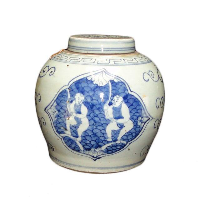Chinese Blue & White Porcelain Decor Ginger Jar - Image 1 of 2
