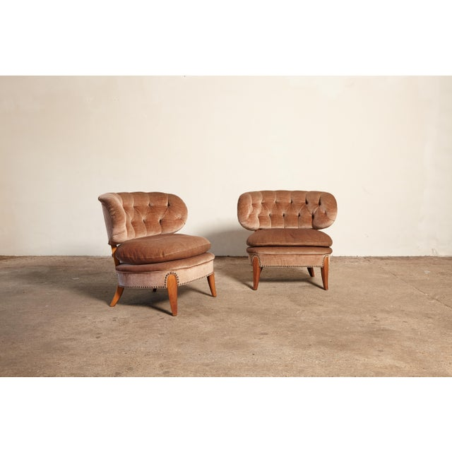Otto Schulz Pair of Otto Schulz 'Schultz' Easy Chairs, Sweden, 1940s-1950s For Sale - Image 4 of 11