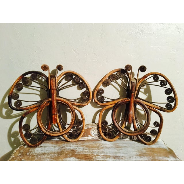 Vintage Bamboo Butterfly Towel Holders - A Pair - Image 2 of 8