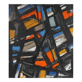 Gustav Friedmann Abstract Painting in Orange and Blue, Circa 1940s