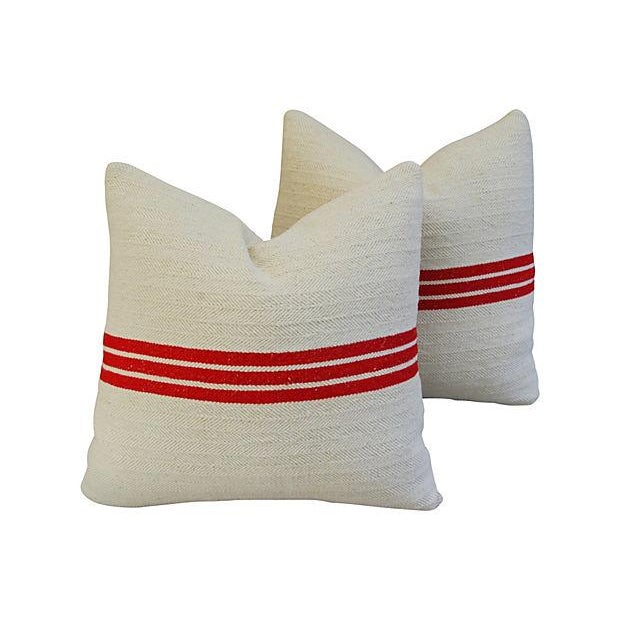 Triple Red Stripe French Textile Pillows - A Pair - Image 7 of 7