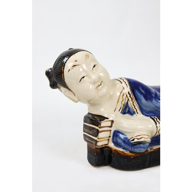 Vintage Chinese Pillow Reclining Figurine For Sale - Image 4 of 8