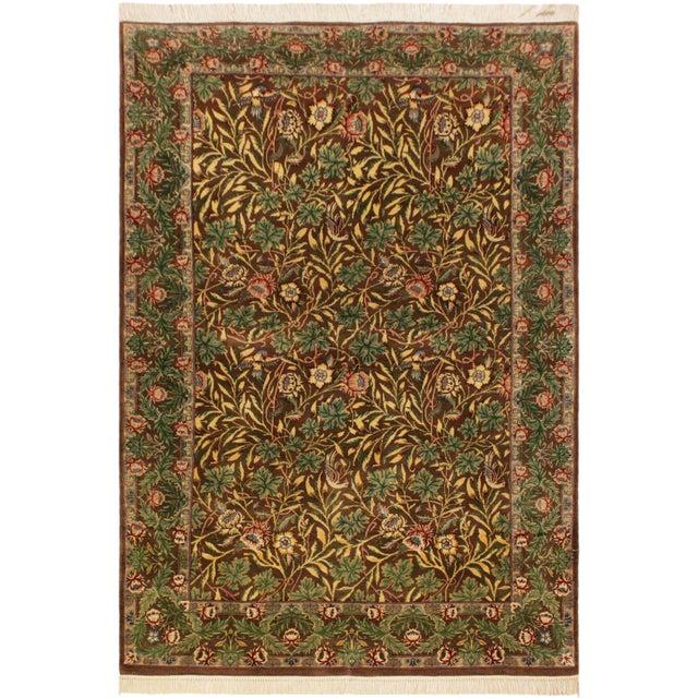 Blue Imran Pak-Persian Mellisa Brown/Green Wool Rug - 4'0 X 6'4 For Sale - Image 8 of 8