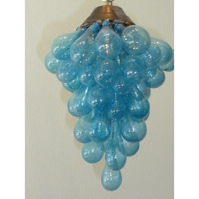 Blue Murano Glass Drop Grape Chandelier - Image 3 of 9