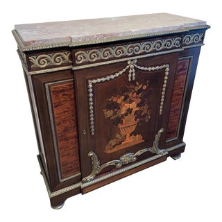 Antique French Belle Époque Marquetry Inlaid Parlor Cabinet For Sale