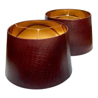 Faux Crocodile Maroon Lampshades - a Pair For Sale
