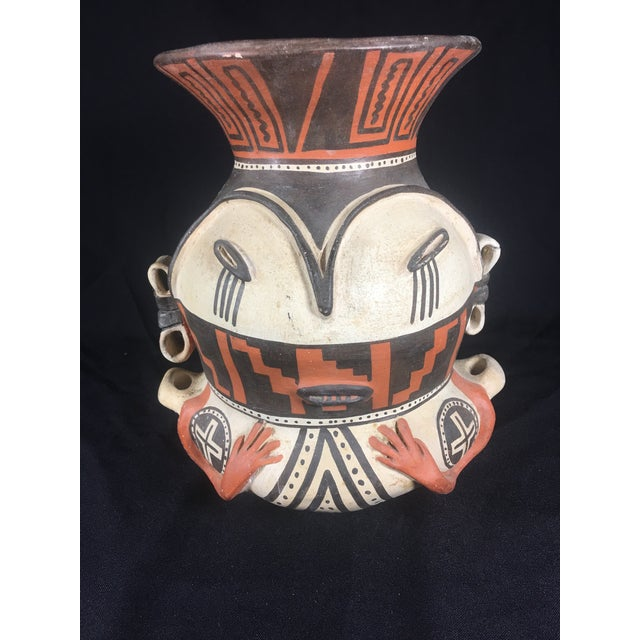 Peruvian tribal clay pottery spirit vase As found Signed on the bottom