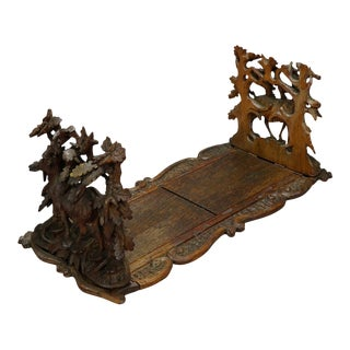Wooden Carved Bookends With Mountain Goats Swiss 1900 For Sale