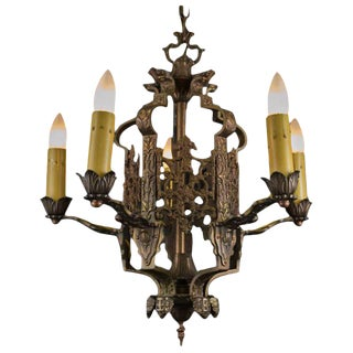 Late 1920's American Five Light Chandelier For Sale