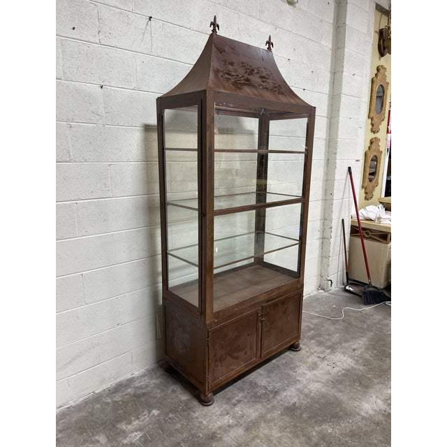 Rustic Pagoda Style Rustic Glass Metal Display Case For Sale - Image 3 of 13